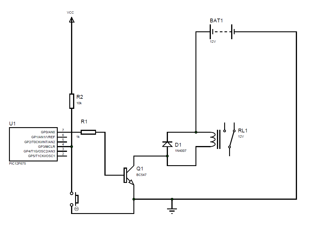 5 second delay relay driver using PIC12F675. | texelsemicon